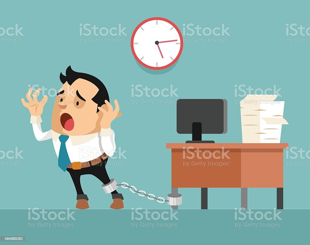 Businessman chained to the desk vector art illustration
