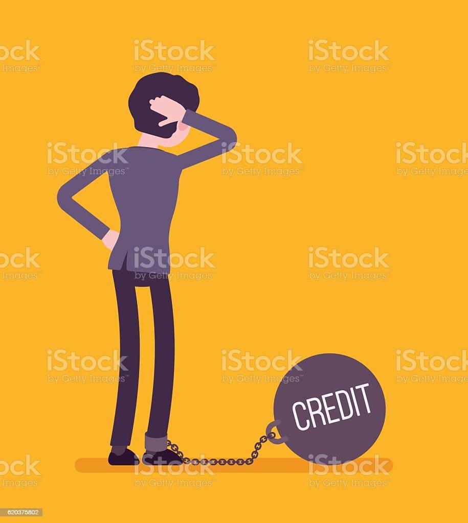Businessman chained with a giant metall weight Credit businessman chained with a giant metall weight credit - stockowe grafiki wektorowe i więcej obrazów bankructwo royalty-free