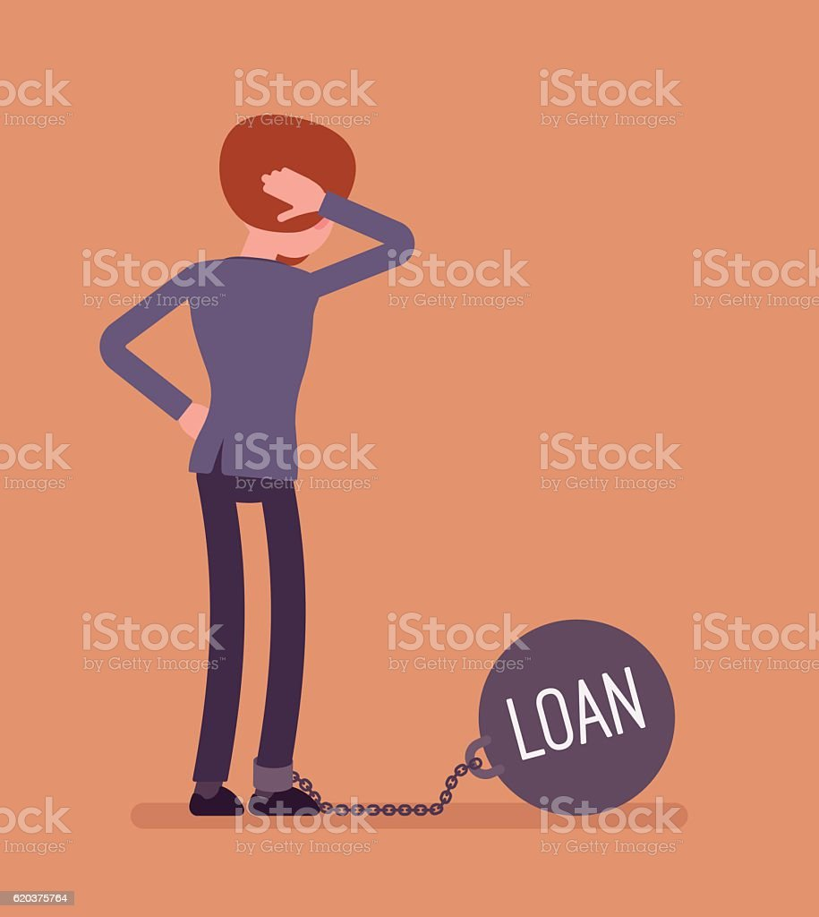 Businessman chained with a giant metall weight Loan businessman chained with a giant metall weight loan - arte vetorial de stock e mais imagens de acidentes e desastres royalty-free
