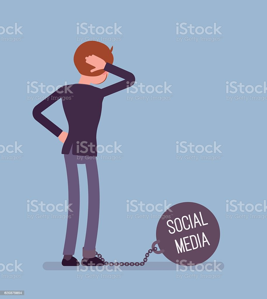 Businessman chained with a giant metall weight Social Media businessman chained with a giant metall weight social media - arte vetorial de stock e mais imagens de acidentes e desastres royalty-free