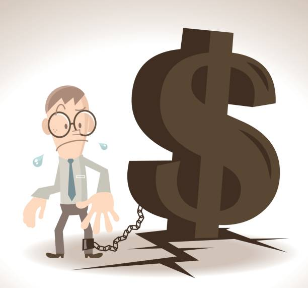 Businessman (man) chained (locked, tied up) with a huge dollar sign iron chain on cracked ground vector art illustration