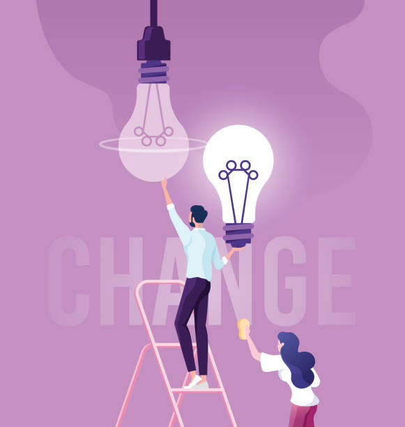 Businessman change light bulb, changed the idea Businessman change light bulb, changed the idea attitude stock illustrations