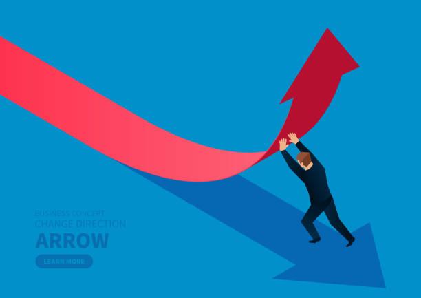 사업가 화살표의 방향을 변경 - 개념 stock illustrations