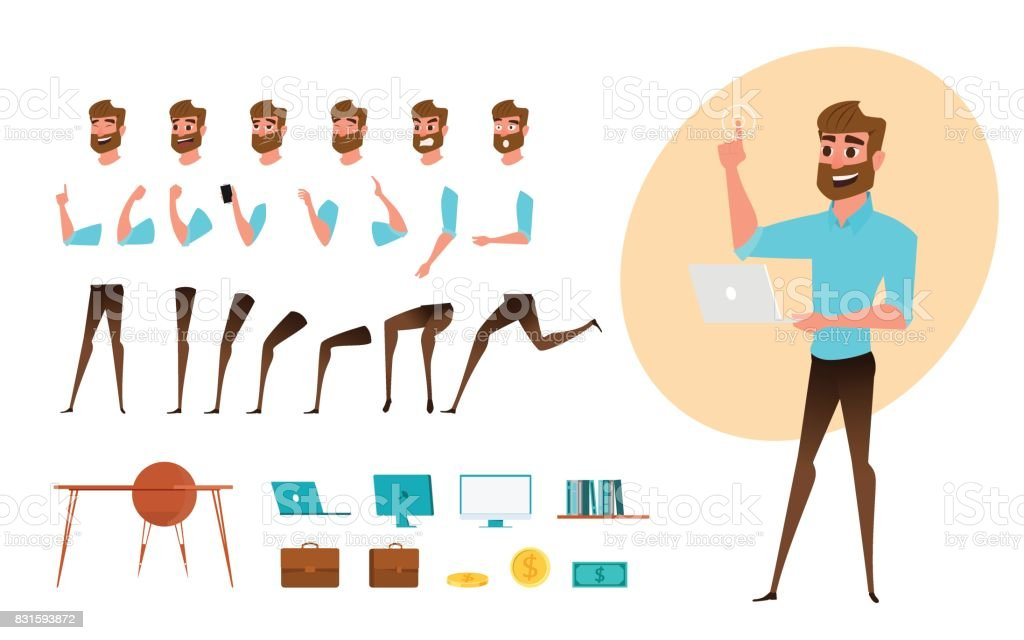 Criação de personagem de homem de negócios definido para animação. Modelo de corpo partes. Emoções diferentes, poses e correndo, andando, em pé, sentado. - ilustração de arte em vetor