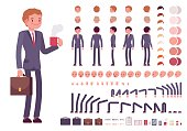 Businessman character creation set. Build your own design. Cartoon vector flat-style infographic illustration