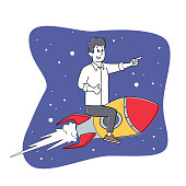 istock Businessman Character Flying on Rocket in Space. Office Worker Fly Up by Spaceship. Self Development, Career Boost 1285828336