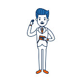 businessman character holding wallet happy