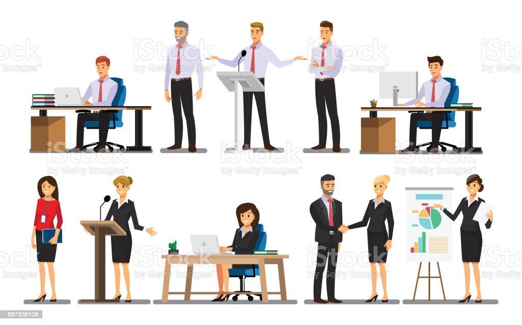 オフィスの設定、ベクトル図で実業家の文字 ベクターアートイラスト