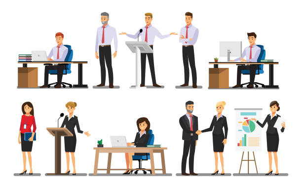 Businessman character In the office set  ,Vector illustration Businessman character In the office set  ,Vector illustration man on computer stock illustrations