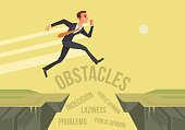 Businessman character jumps over problems. New start up project