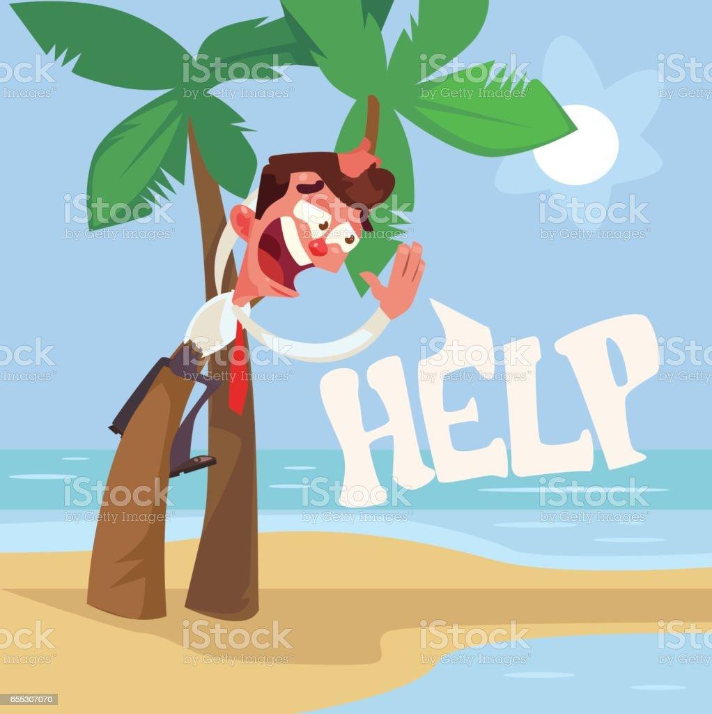 Businessman character lost on desert island vector art illustration