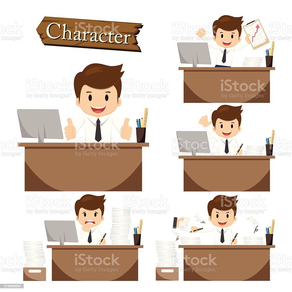 Businessman character on office set vector vector art illustration