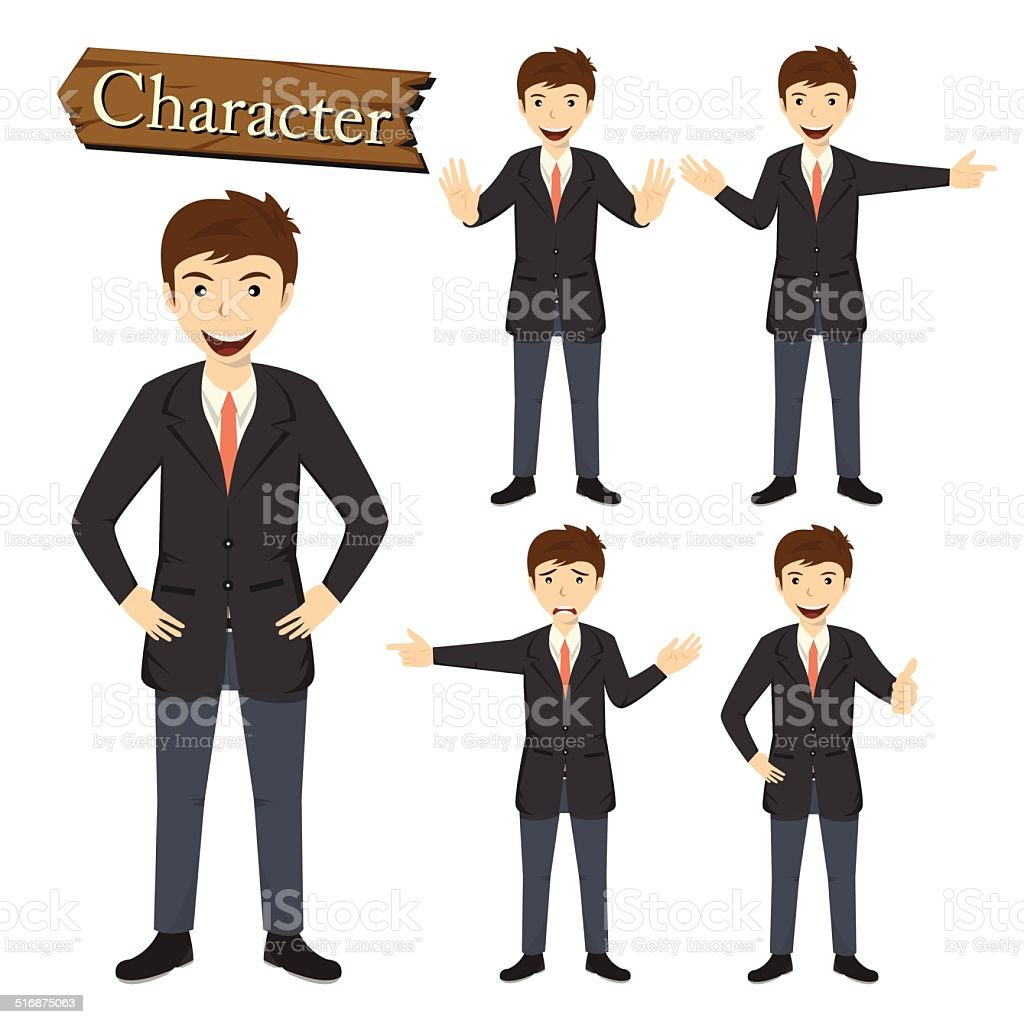 Businessman character set vector vector art illustration
