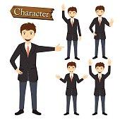 Businessman character set vector