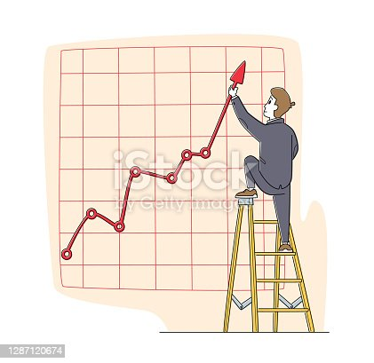 istock Businessman Character Stand on Ladder Directing Huge Growing Arrow Up. Business Chart Growth Curve on Coordinate System 1287120674