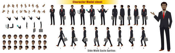 Businessman Character Turnaround Businessman Character Model sheet with Walk cycle Animation Sequence arrange stock illustrations