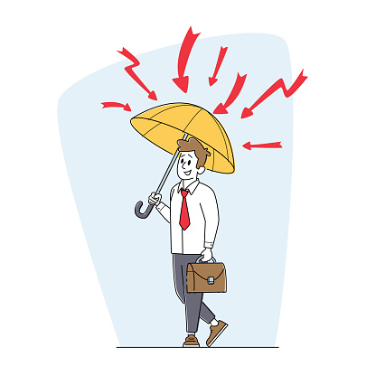 Businessman Character with Briefcase Stand under Umbrella Protecting of Flash Lightnings. Financial Protection, Security