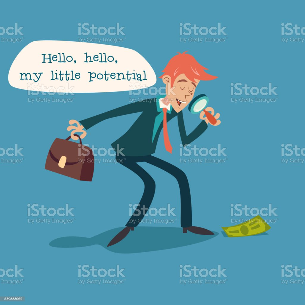 Businessman Character with Magnifying Glass and Briefcase Considering Money Possibility vector art illustration