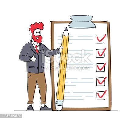 istock Businessman Character with Pencil Stand at Checklist with Marks in Check Boxes on Huge Clipboard. Business Man Planning 1287120659