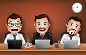Set of Realistic 3D Businessman Character Working on Office Desk Table with Laptop. Vector Illustration