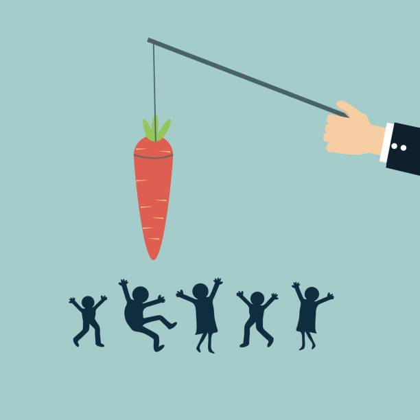 businessman chase peoples with carrot vector art illustration