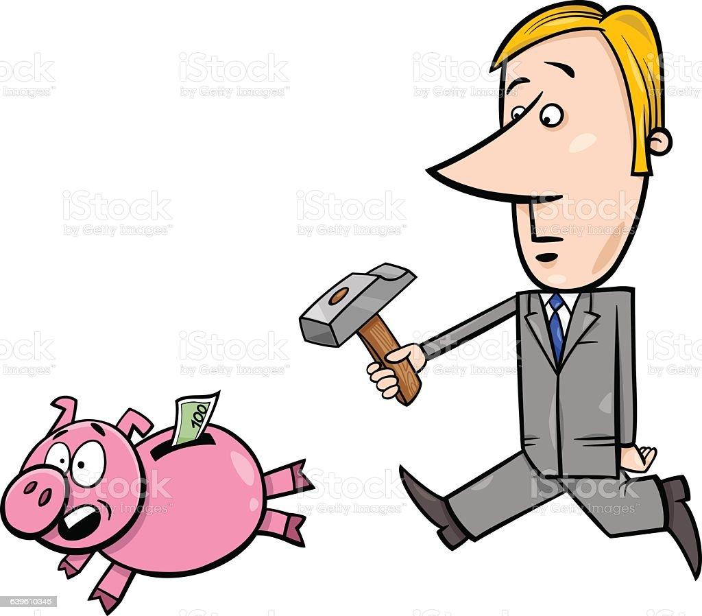 businessman chase piggy bank vector art illustration