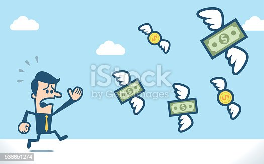 Businessman chasing flying dollar money.