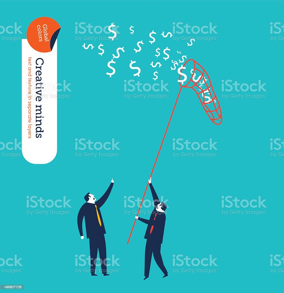 Businessman chasing money with a butterfly net vector art illustration