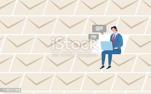 Stay on Connection Flat Vector Concept. Businessman Sitting with Laptop on Knees, Working Online, Messaging and Mailing with Business Partners, Communicating with Colleagues in Internet Illustration