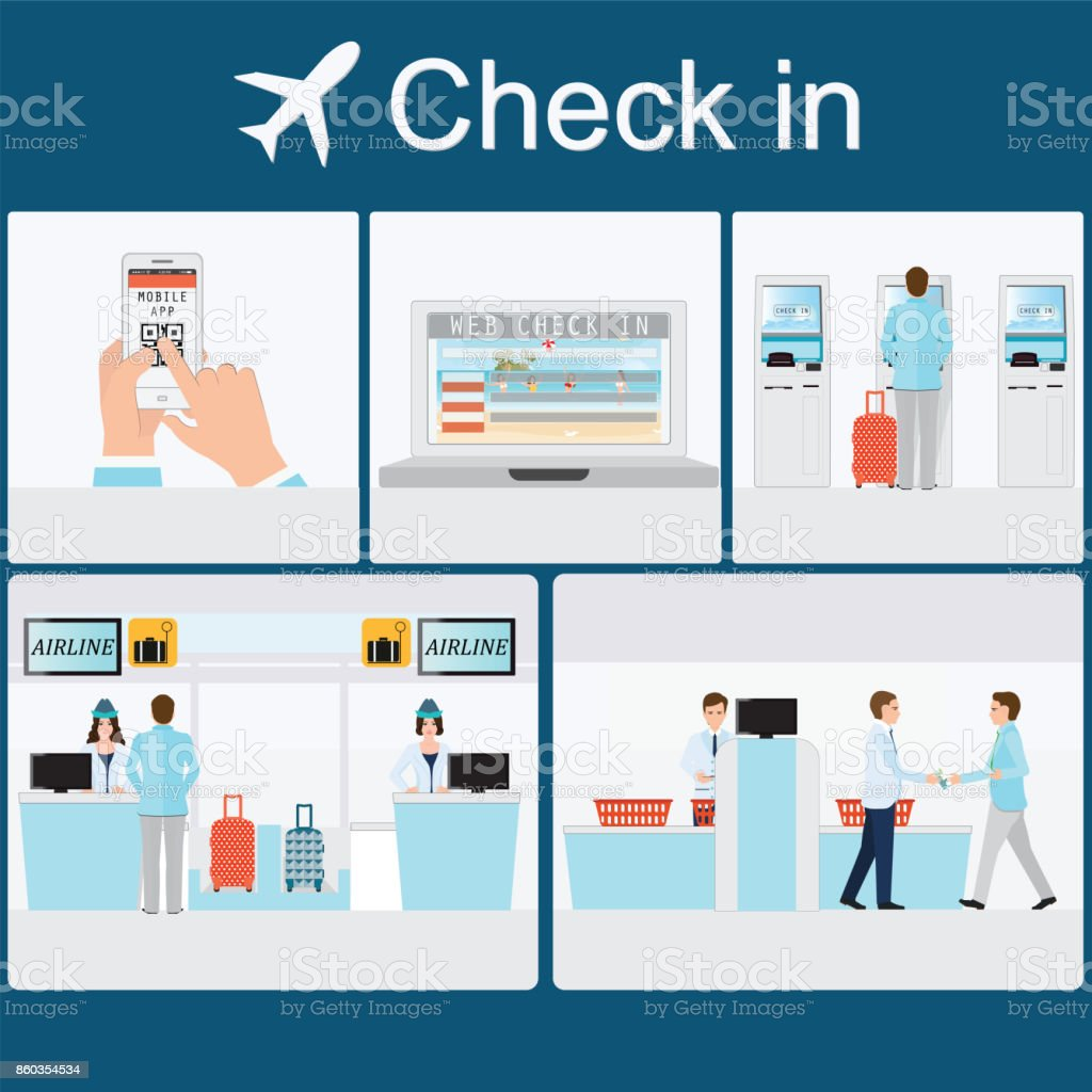 Businessman  check-in at the airport . vector art illustration