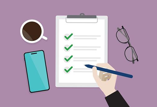 To do list, Planning, Document, Clipboard, Survey, Agenda, Check mark