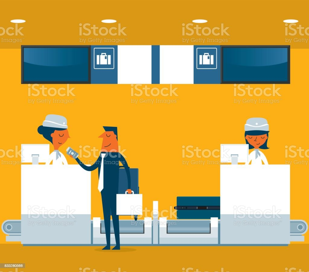 Businessman checking in counter airport vector art illustration