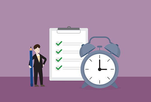 Businessman checklist with a clock