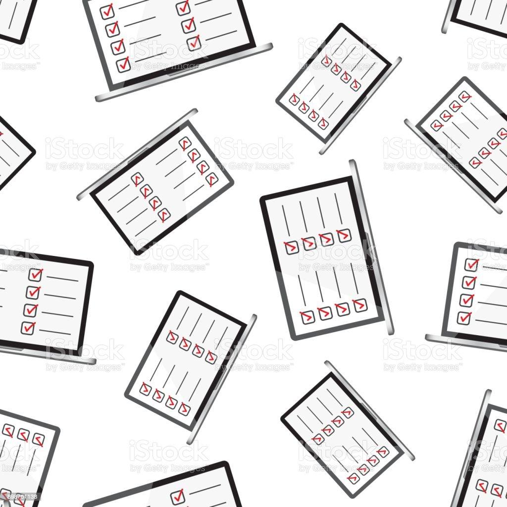 Businessman Checklist With Notebook Seamless Pattern