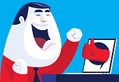 vector illustration of businessman cheering while seeing thumbs up from laptop