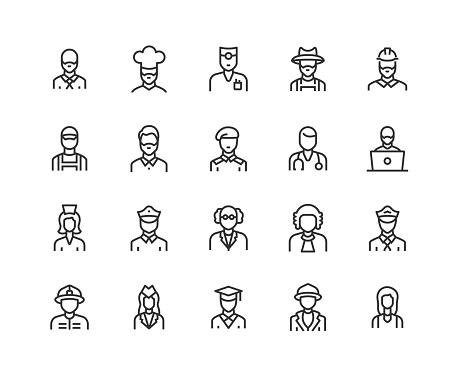 Businessman, Chef, Engineer, Scientist, Doctor, Pilot Icon Design