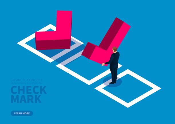 Geschäftsmann wählt Häkchen und setzt es in das Kontrollkästchen – Vektorgrafik