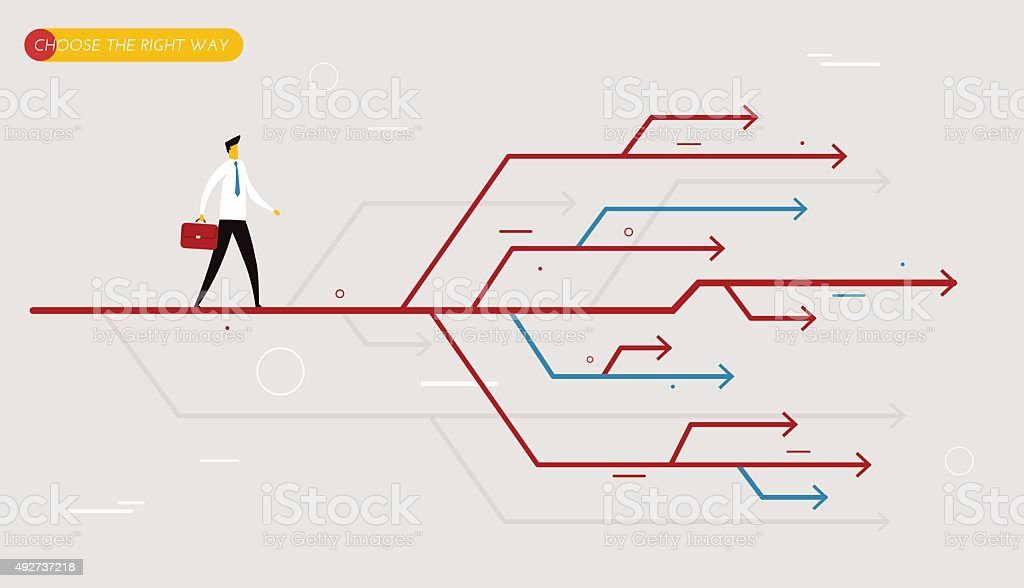 Businessman chooses the right path vector art illustration