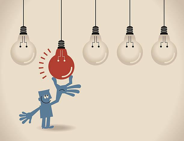 Businessman choosing the best idea (light bulb) vector art illustration