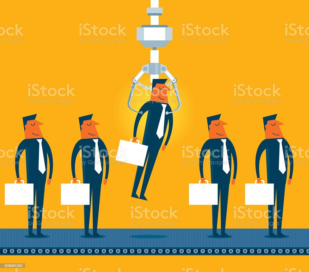 Businessman Chosen by a Claw Crane Arcade Game vector art illustration