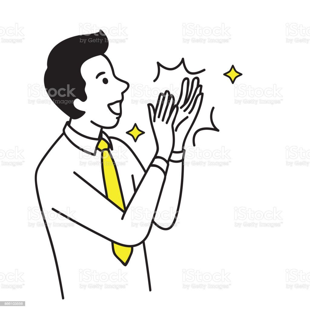 Businessman clapping hand celebrating vector art illustration