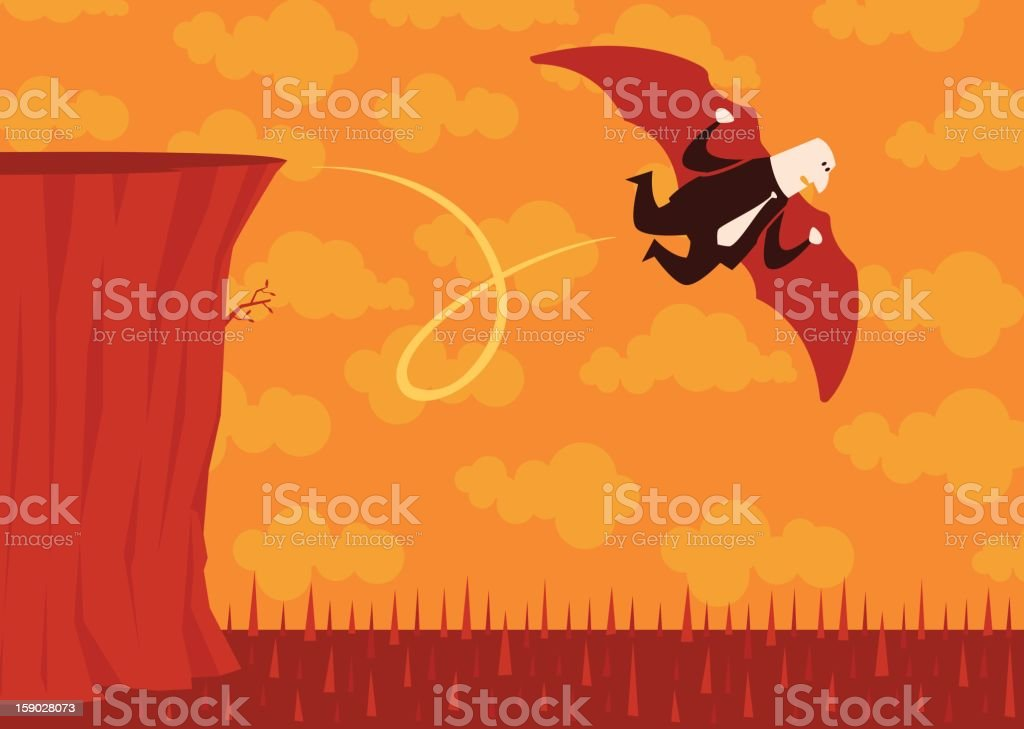 Businessman Cliff Flying royalty-free businessman cliff flying stock vector art & more images of business