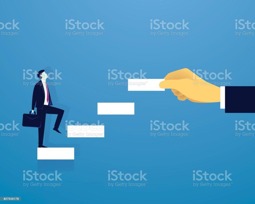 Échelle de réussite montée homme d'affaires - Illustration vectorielle