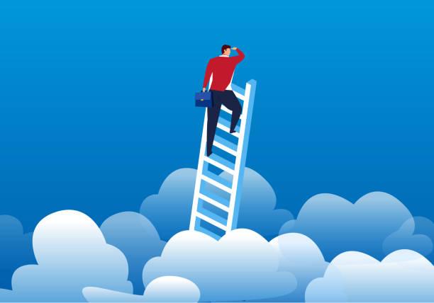 ビジネスマンに登った距離を見るに雲 - 希望点のイラスト素材/クリップアート素材/マンガ素材/アイコン素材