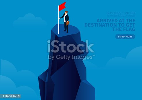 Businessman climbed to the top and got the flag