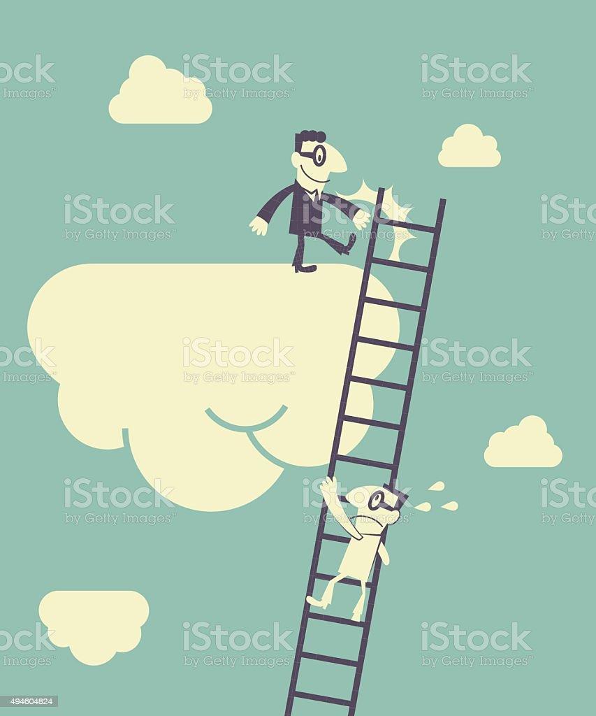 Businessman climbing a ladder, bad man kicking away the ladder vector art illustration