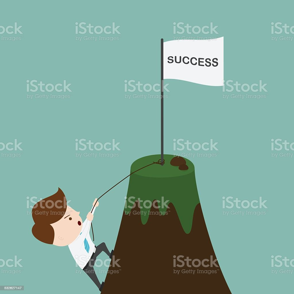 Businessman climbing on the mountain. vector art illustration