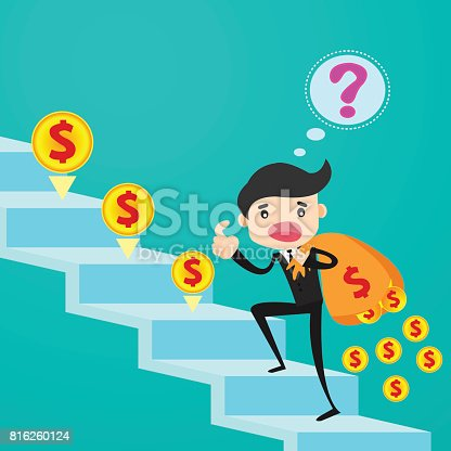 Businessman climbing stairs losing his money from leak bag/business concept