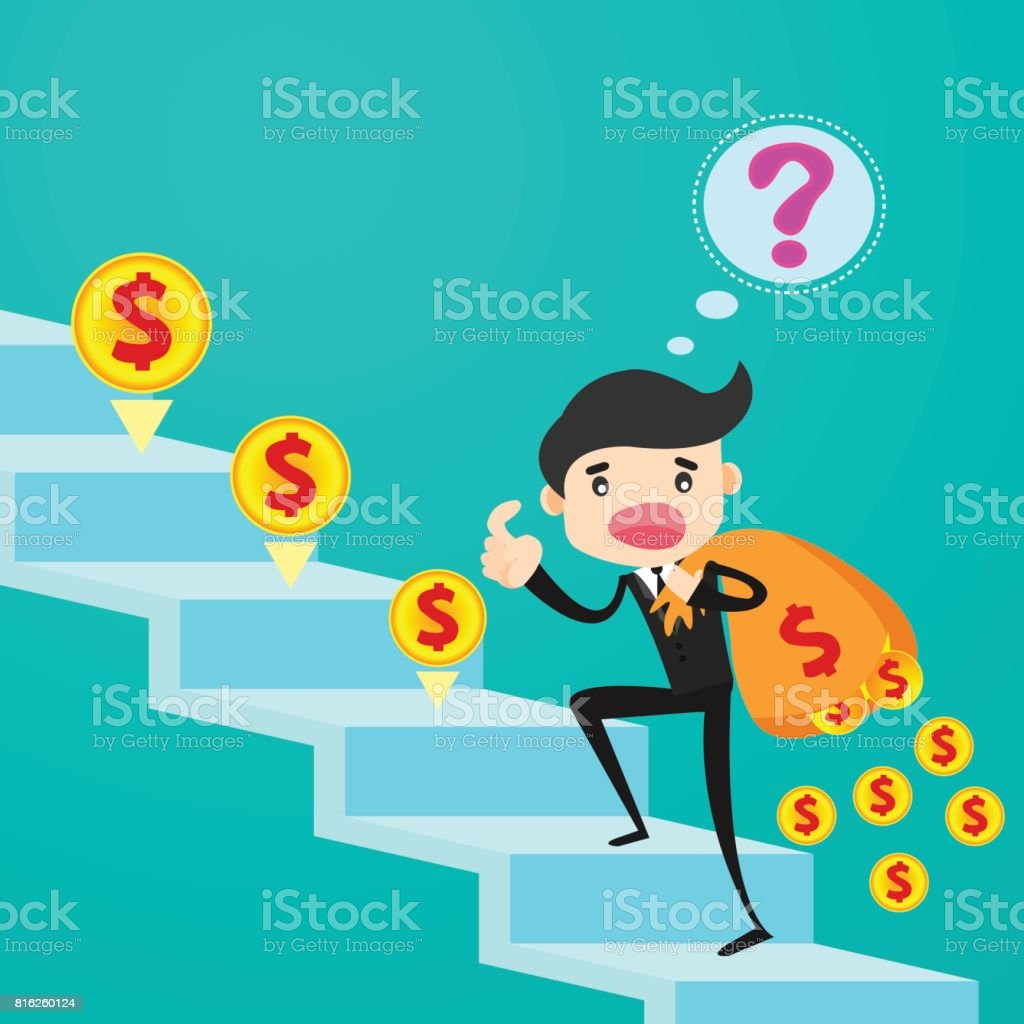 Businessman climbing stairs losing his money from leak bag/business concept vector art illustration