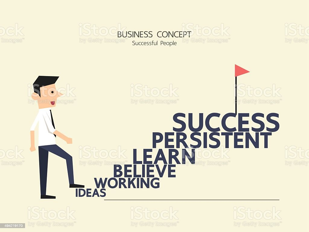 Businessman Climbing Stairs Of Success Typography Flat Style ... for Climbing Stairs To Success  8lpfiz